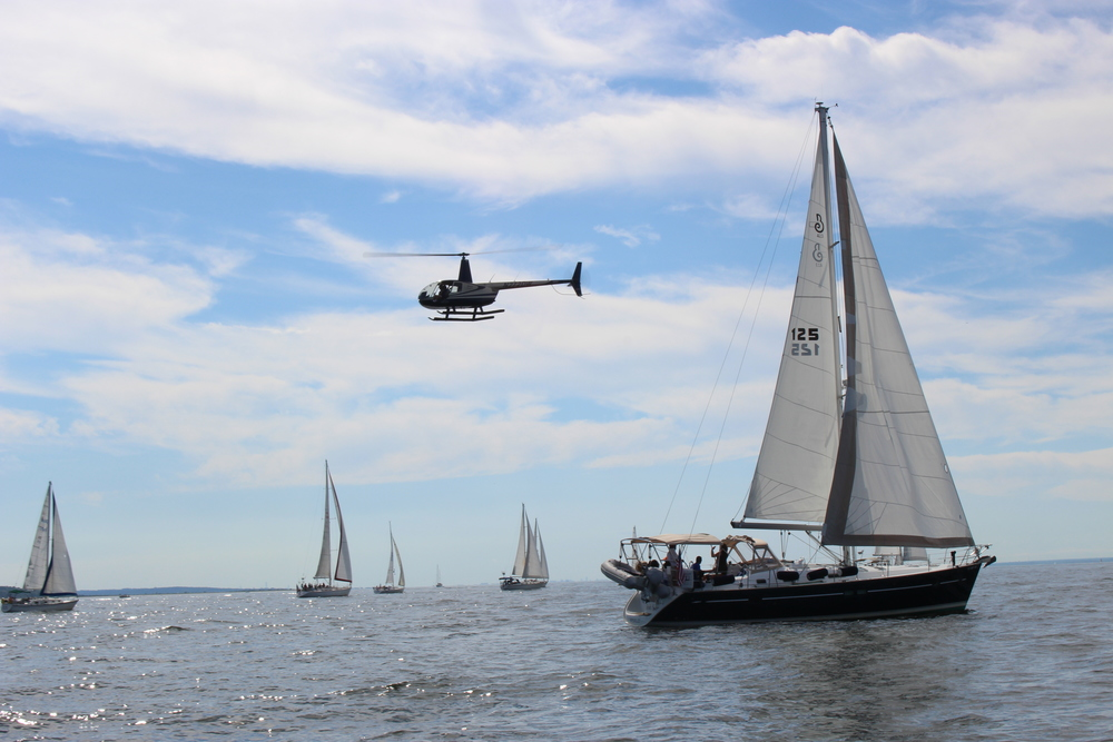 SailAhead's 2015 Let's Take A Veteran Sailing event underway in Northport Bay. Photo courtesy of SailAhead