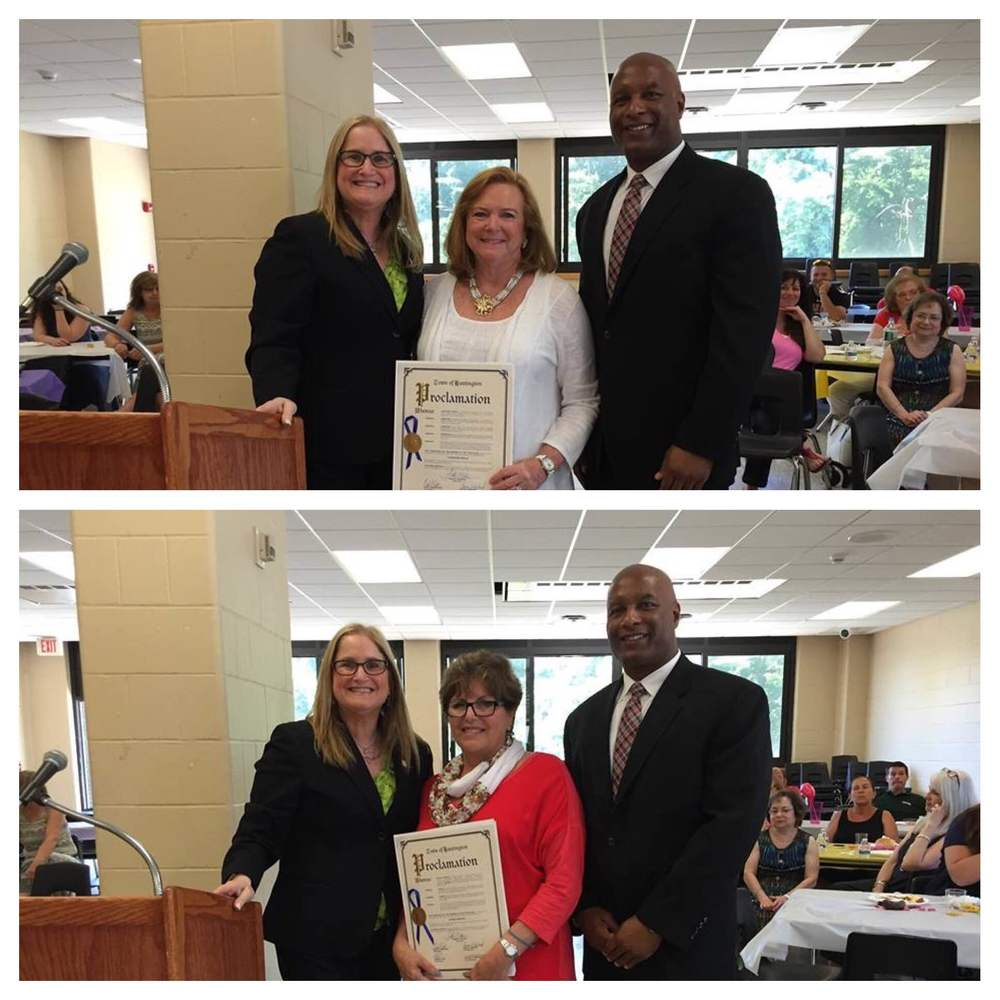 Gloria Mandell, above, and Christine Inglis, right, were presented with Huntington town proclamations by Councilwoman Susan Berland, above, left. Also pictured is Dr. Jeffrey Woodberry, principal of Half Hollow Hills High School East.