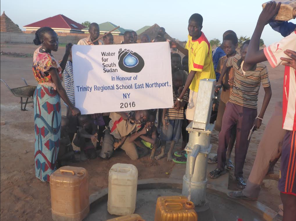 Pictured is the water well that was built in Wau, South Sudan with the help of $5,000 raised by student members of the Trinity Leadership Corps at Trinity Regional School. Photo by Water For South Sudan