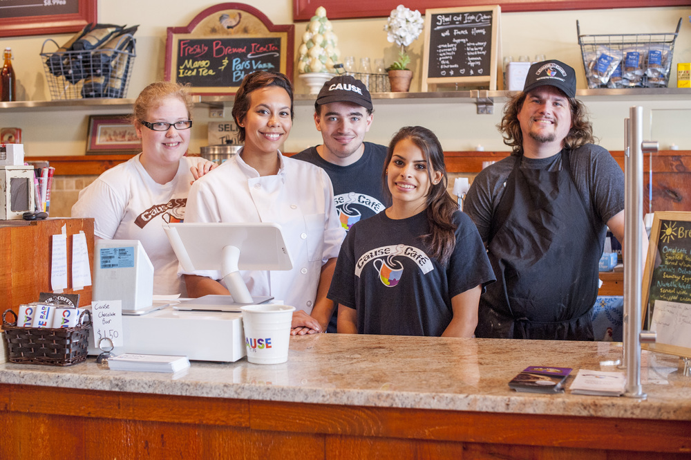 Staff members of the Cause Café in Northport, pictured from left: Sarah Thompson, Chef Felicia Fernandez, William Muller, Randi Topel and Mark Kurtz.
