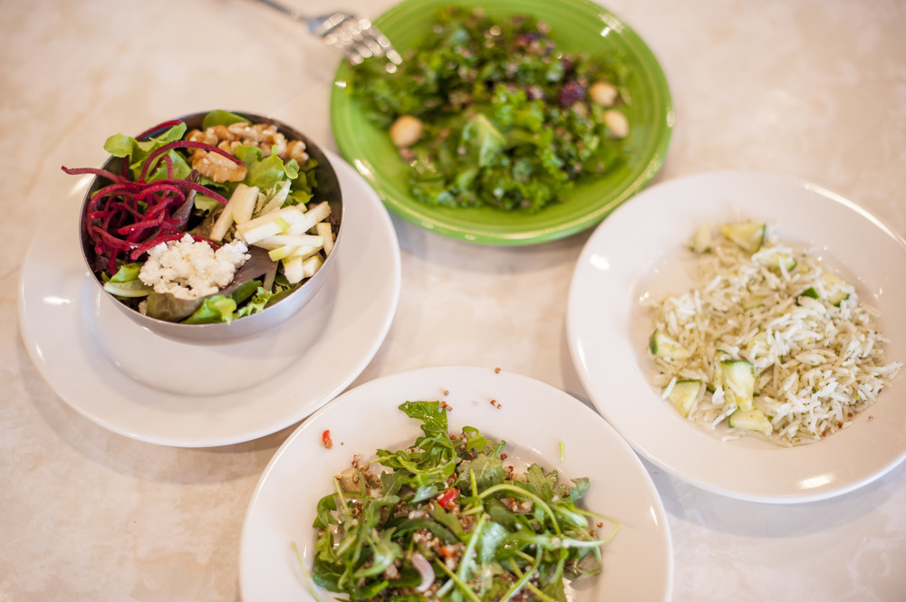A sampling of the Papillon Butterfly Salad (left), features apples, goat cheese, walnuts, roasted beet and raspberry walnut vinaigrette, is one of the variety of fresh greens sure to add a splash of natural goodness to a meal at Cause Café in Northport.