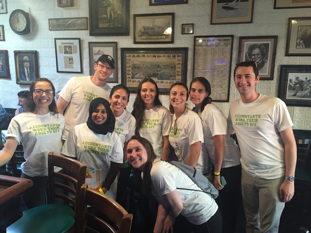 The Two Teams from Cerini and Associates, pictured at Finnegan's in Huntington.
