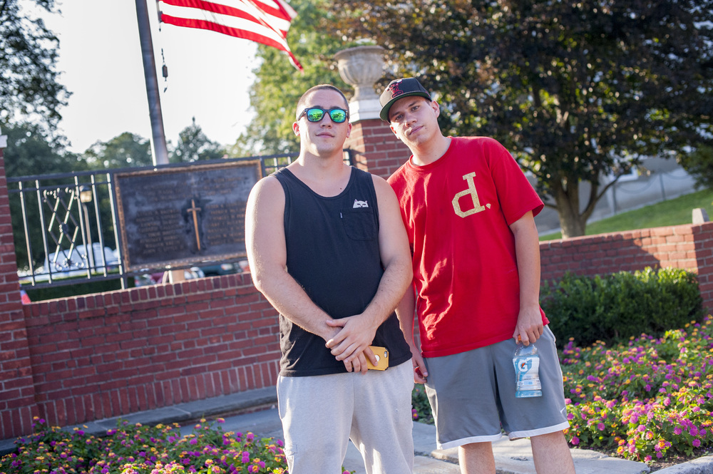 Two Pokémon Go players Ryan Lally (left) and Mike Rayfield traveled to Northport Harbor from Commack to catch creatures attracted to the area by lures installed by fellow players.