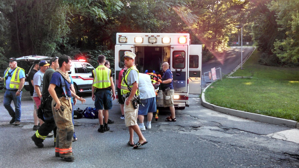 Around 25 East Northport volunteer firefighters and EMS personnel responded to a report of a 10-year-old boy injured in Meadowlark Park in East Northport on Friday. Photo by Steve Silverman