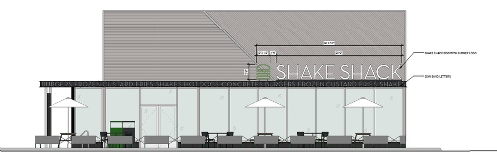 The Huntington Planning Board recently approved a proposal to build a 3,040-square-foot Shake Shack restaurant in Melville, depicted above in a rendering. Rendering provided by Thomas Abbate