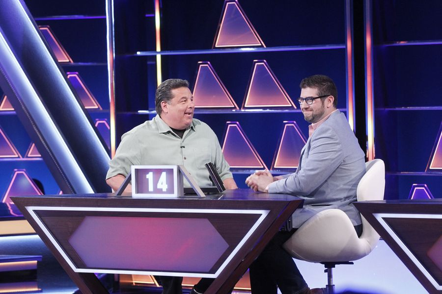 "Commack High School graduate Jeffrey Eisner, right, partners with actor Steve Schirripa, left, of television show ""Blue Bloods,"" to compete in ABC's ""$100,000 Pyramid."" Photo by Lou Rocco"