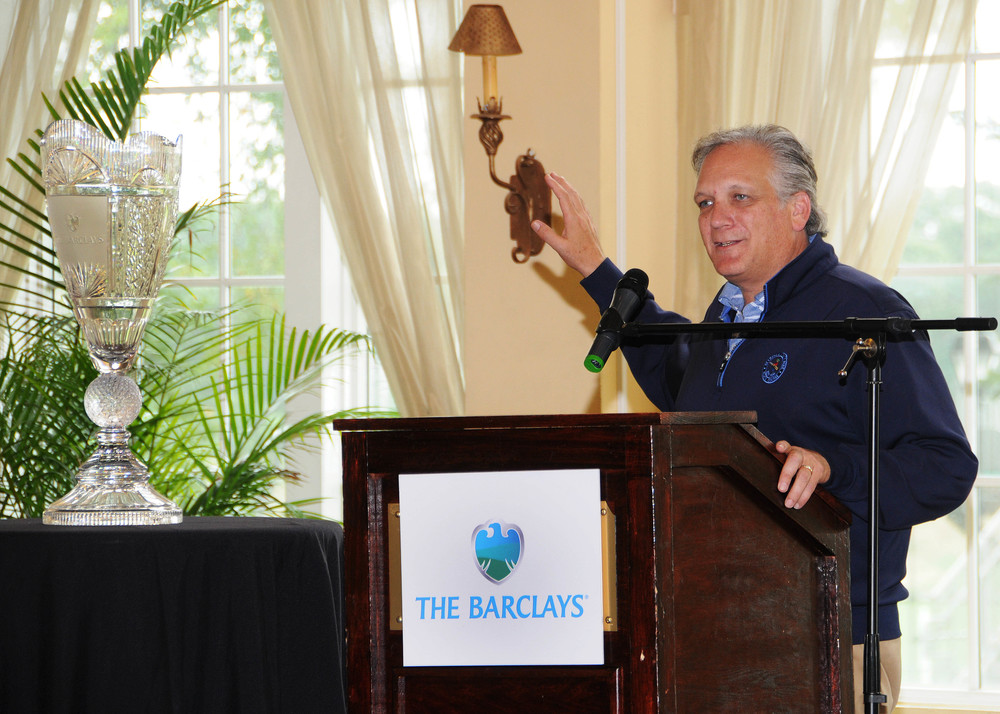 Nassau Executive Edward Mangano, above, and Peter Mele, PGA Tour executive director, welcomed The Barclays professional golf tournament to Bethpage State Park last week. The tournament is set to begin Aug. 23. Photo/Nassau County