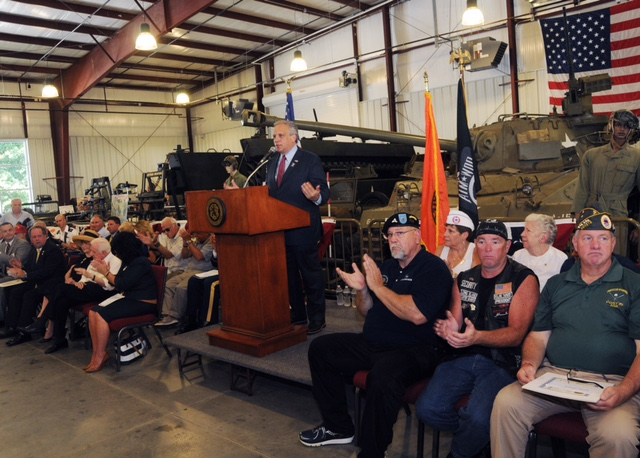 Nassau County Executive Edward Mangano delivering his speech to nearly 1,000 Vietnam Veterans on Sunday, honoring them for their service to the country.