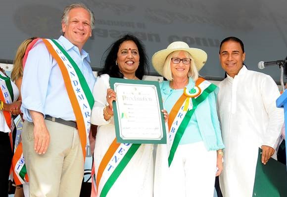 Pictured, from left: Nassau Executive Edward P. Mangano; Beena Kothari, chair of the India Day Parade USA Committee; Judi Bosworth, Town of North Hempstead supervisor; and Bobby K. Kalotee, international chairman, Friends For Good Health.