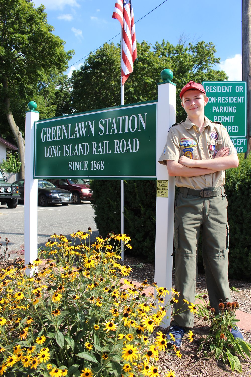 Sean Burns is the third generation of his family to earn the Eagle Scout rank. For his project, the 15-year-old replaced the entrance sign at the Greenlawn Long Island Railroad Station, and spruced up the landscape around it.