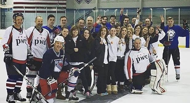PARTICIPANTS IN THE 3RD ANNUAL HOCKEY HELPS: 24 HOUR HOCKEY MARATHON PAUSE FOR A PHOTO AT THE DIX HILLS ICE RINK. THE EVENT, HOSTED AT THE DIX HILLS ICE RINK RAISED OVER $400,000 FOR SEVERAL LOCAL CHARITIES.