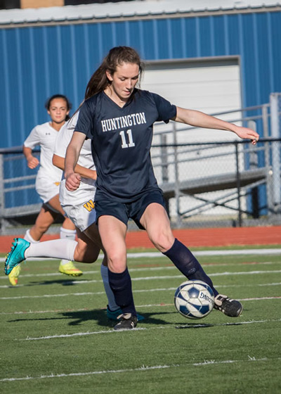 Ryann Gaffney, a senior at Huntington High School, is a forward on the school's girls soccer team.*Photo by Mike Connell