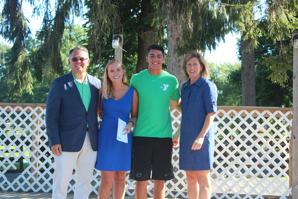 The Claire Friedlander Family Foundation awarded three college-bound camp counselors a scholarship for their effort at the YMCA of Huntington. Pictured from left to right Peter Klein, Kelly Klein Claire Friedlander, Michael Wegmann and Eileen Knauer. Also earning the scholarship were Delanna Richardson, pictured in the center photo; and Josh Kaplan, pictured in the far-right photo. (*Photos provided by Eileen Knauer).