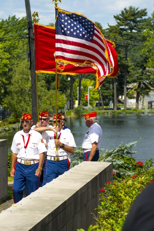 Long Islander News photos/Andrew Wroblewski Members of Huntington Marine Corps League Detachment #792 present the nation's colors on Sunday during the Town of Huntington's 9/11 ceremony in Heckscher Park.