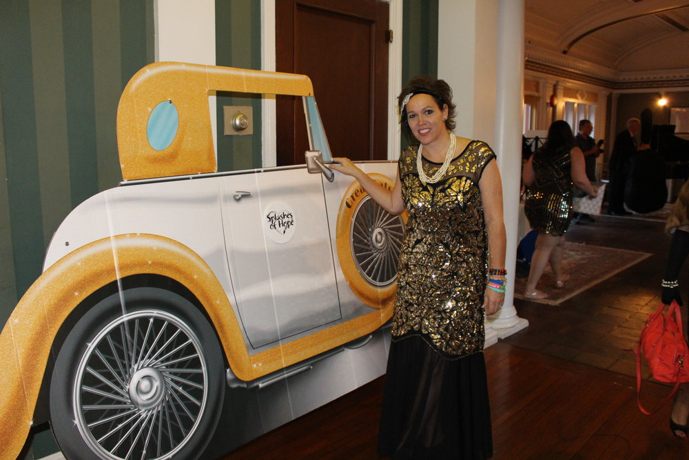 Long Islander News photos/Janee Law Heather Buggee, founder and director of Huntington-based Splashes of Hope, brings Roaring Twenties style to Coindre Hall as the nonprofit hosted its 20th anniversary gala.