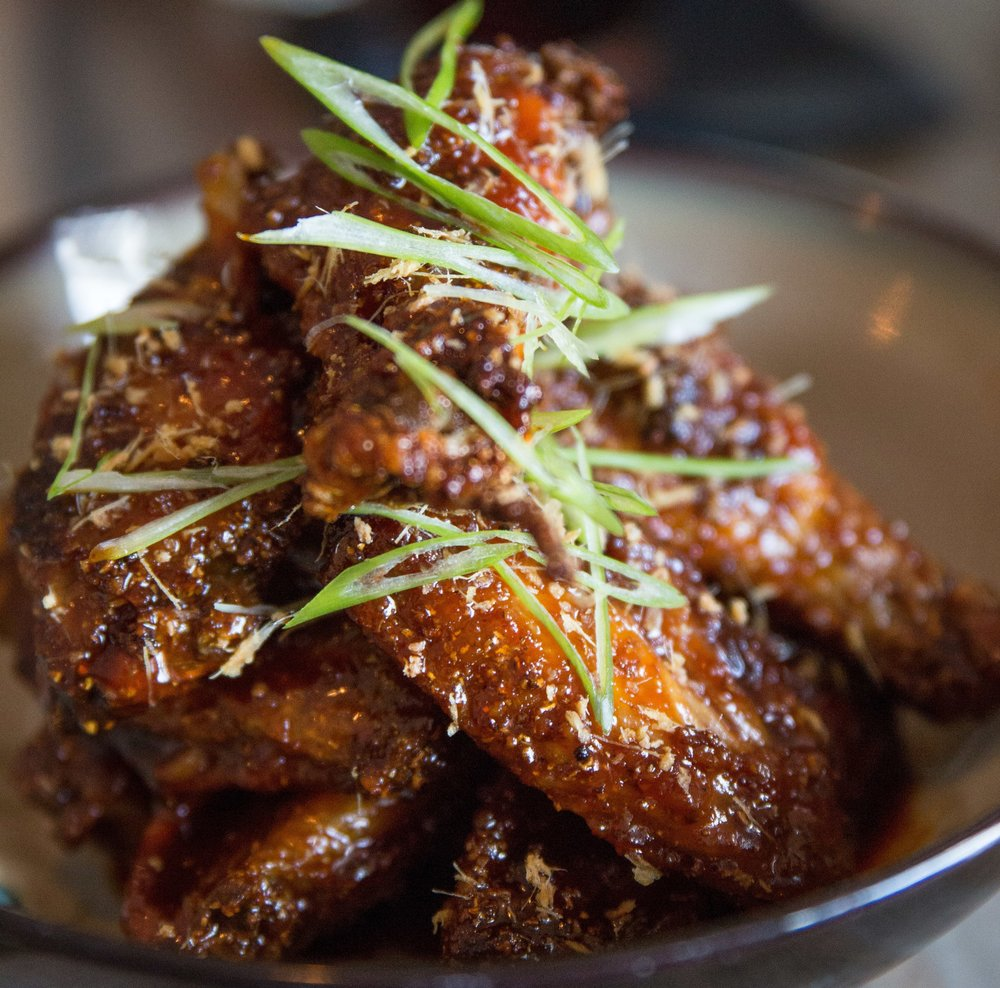 Long Islander News photos/Craig D'Andrea     The Chicken Wings with Red Dragon sauce were crispy, yet tender and packed with a spicy, almost herbal flavor that adds complexity to a traditional small plate.