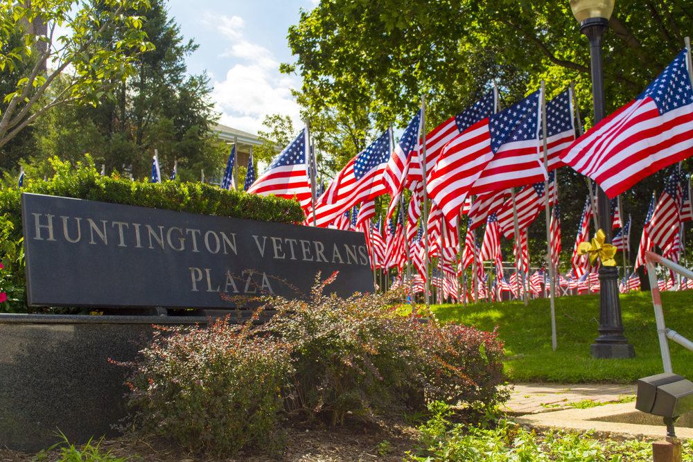 Long Islander News photo/archives Town of Huntington officials are seeking a $60,000 state grant to help fund planned improvements to the Veterans Plaza in front of town hall.