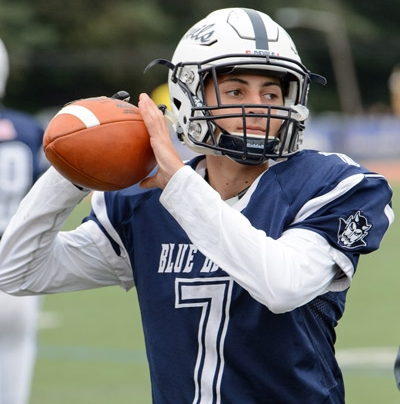 Photo/Darin Reed Blue Devils quarterback John Paci completes a touchdown pass in the second quarter, bringing Huntington to 14-0 against Centereach.