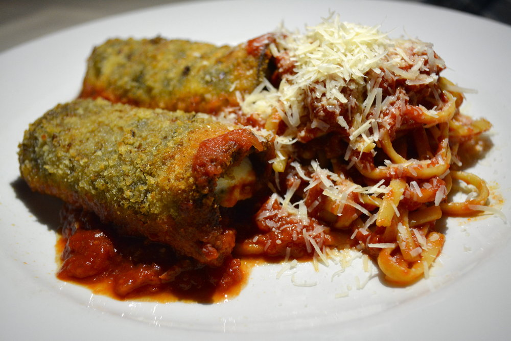 The Eggplant Rollatini at Almarco involves ricotta and mozzarella cheeses, sautéed spinach and friend eggplant.