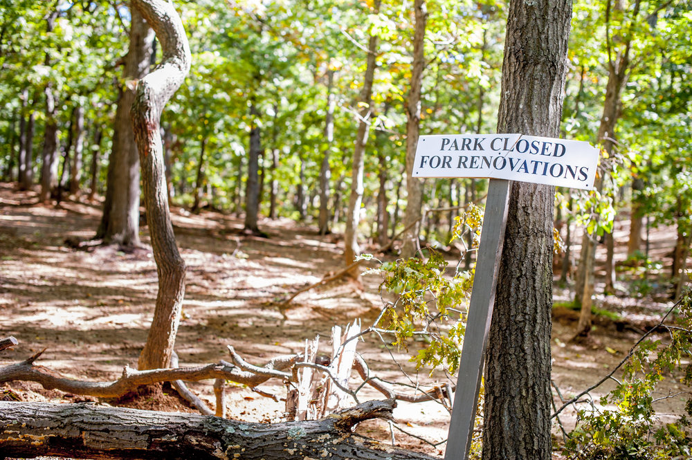 """Long Islander News photo/Jano Tantongco The man-made ramps and bowls that made up the unsanctioned """"Boondocks Trails"""" in the Pine Ridge Conservation Area in Melville have been smoothed over and refilled."""