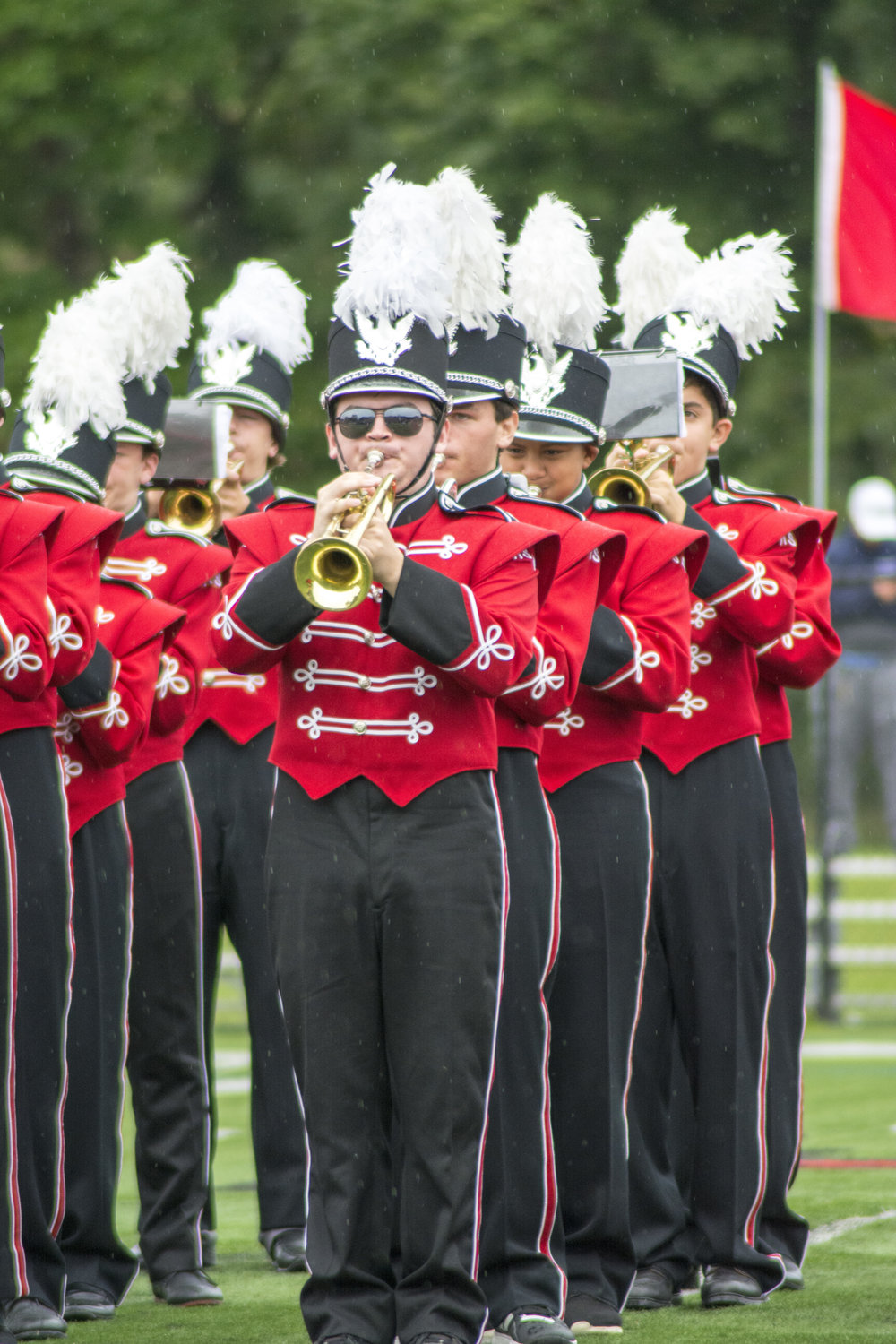 Long Islander News photos/Andrew Wroblewski High School East's marching band plays during halftime on Saturday.