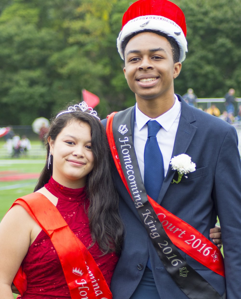 Long Islander News photos/Andrew Wroblewski Caitlin Allsopp and Paul Ibuzor are this year's homecoming queen and king