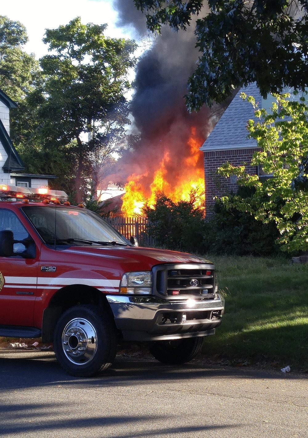 Photo/Huntington Manor Fire Department A garage at a Fourth Avenue home in Huntington Station is engulfed by flames early this morning. Fire officials said there were no reported injuries and that they were able to contain the blaze.