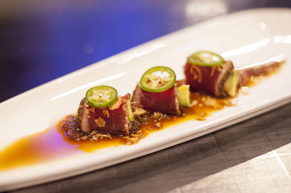 Start a tasting at 110 Japan off with a spicy bang with the Black Pepper Bluefin Tuna, which is steeped in a delicious sweet onion soy dressing.