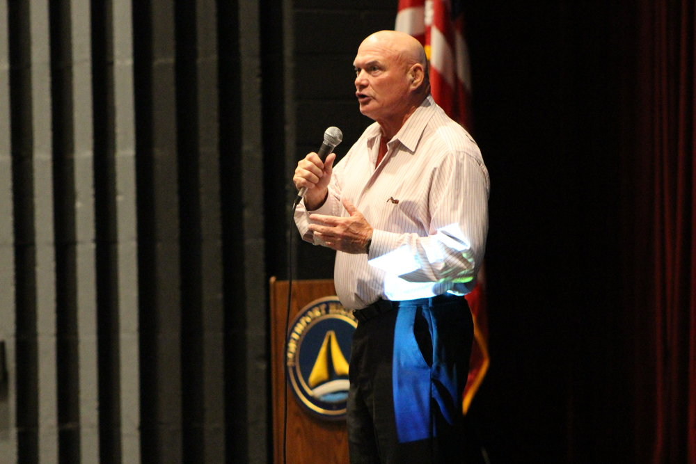 "Larry Glenz, author of ""Forgiving Kevin: A Son's Addiction Becomes a Father's Greatest Teacher,"" visited Northport High School last Friday to share his personal story about losing his son Kevin to heroin addiction."