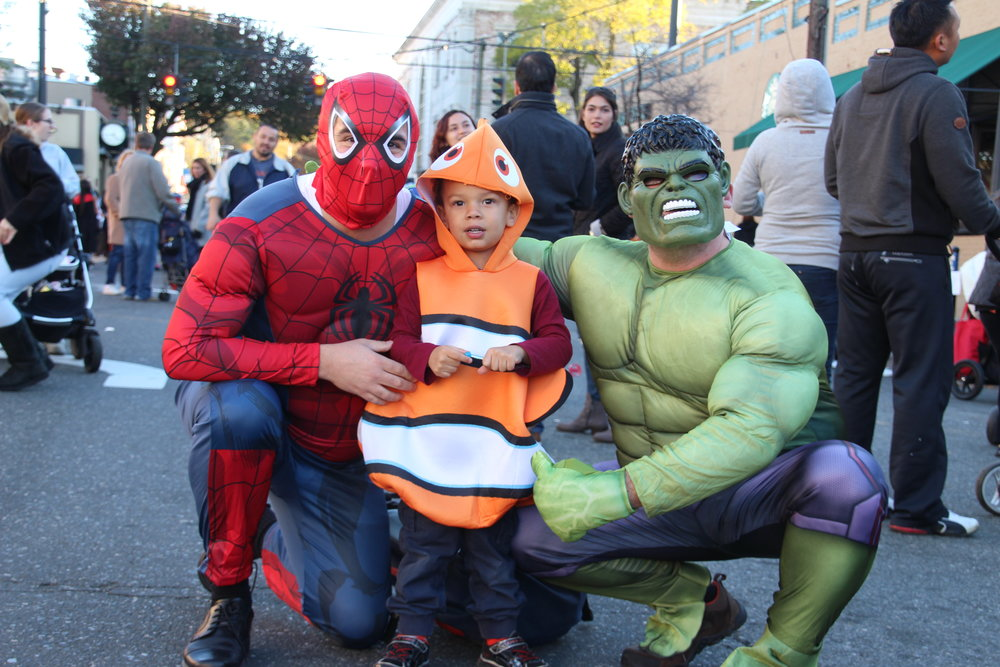 Jason Smith, Leo Smith-Miciotta, 3, and Dominick Miciotta, of Huntington, provide the perfect combination of superheroes and a popular Disney character.