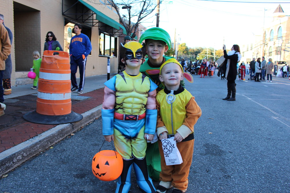 Huntington's William Vitale, 5, dressed as Wolverine, Alex Vitale, 7, dressed as a Ninja Turtle, and James Vitale, 3, dressed as Rubble, are all smiles.