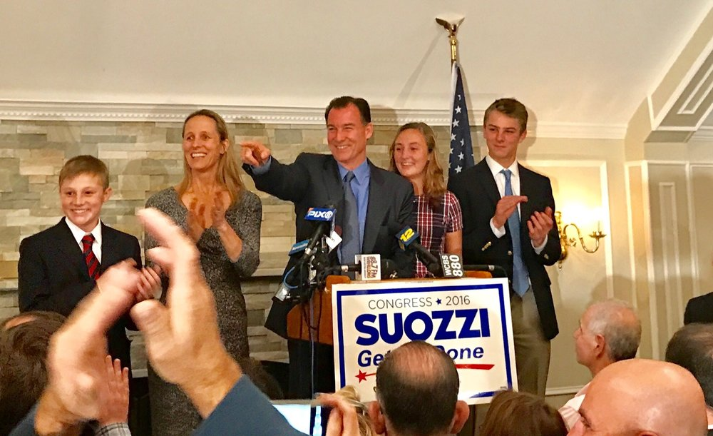 U.S. Congress-elect Tom Suozzi and his family are pictured on election night. Pictured, from left, are: Michael Suozzi, Helene Suozzi, Tom Suozzi, Caroline Suozzi and Joe Suozzi. (Photo / Suozzi For Congress.)
