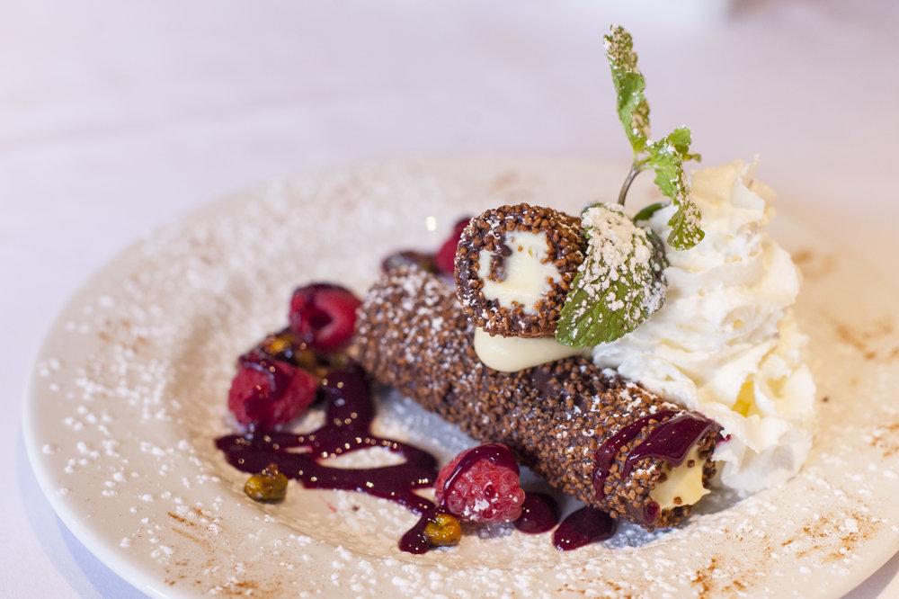 The Chocolate Cannoli blends pistachio cream and raspberries for a sweet finish to your meal.
