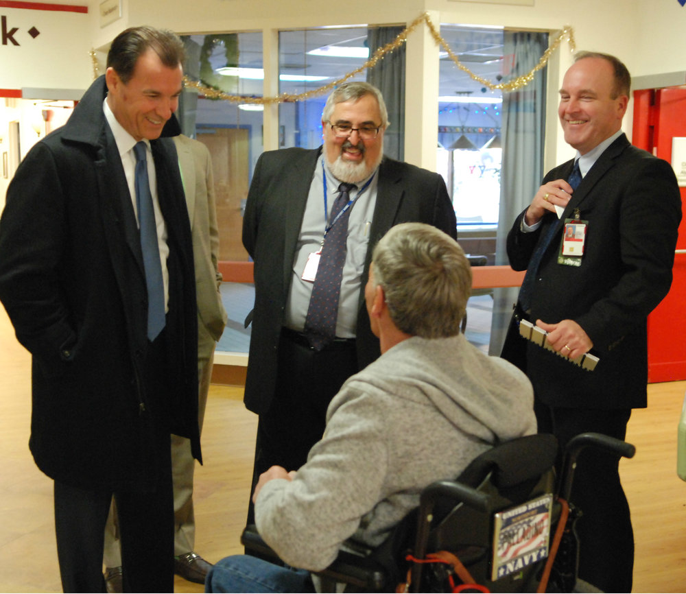 Congressman-elect Thomas Suozzi meets with veterans and staff at the Northport Veterans Affairs Medical Center to discuss quality-of-life issues at the facility and help improve operations. (Photo courtesy of Suozzi For Congress).
