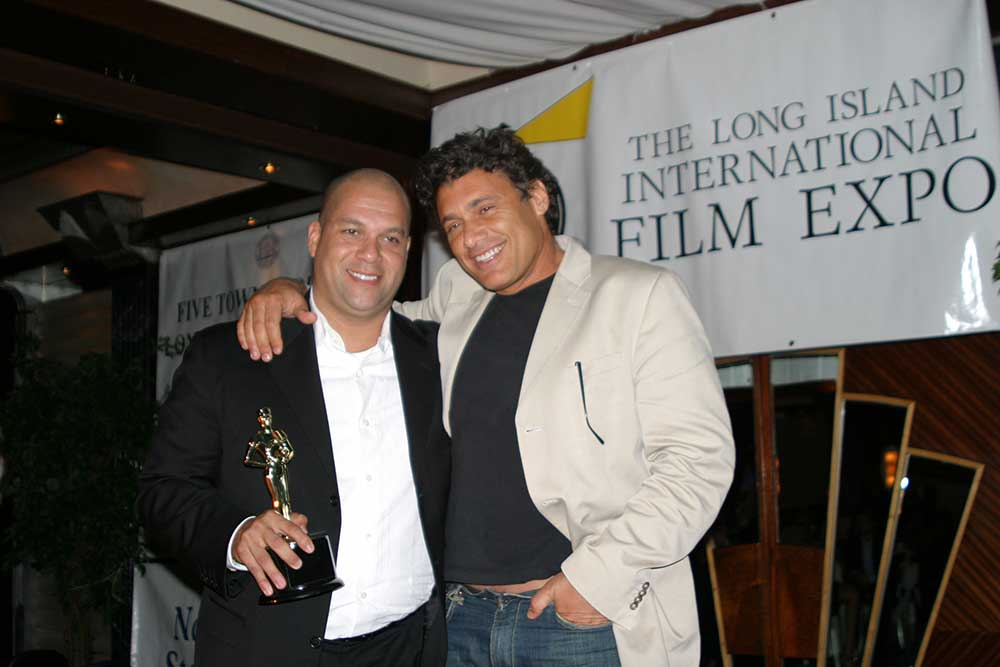 Dave Rodriguez and Steven Bauer are pictured at a past Long Island International Film Expo.