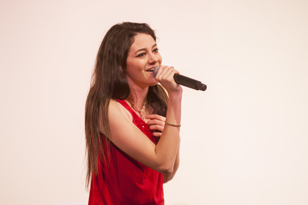 Pop star Meredith O'Connor sang for Silas Wood Sixth Grade Center students and shared her personal struggle with bullying and overcoming it through following her passion and developing her self-esteem.