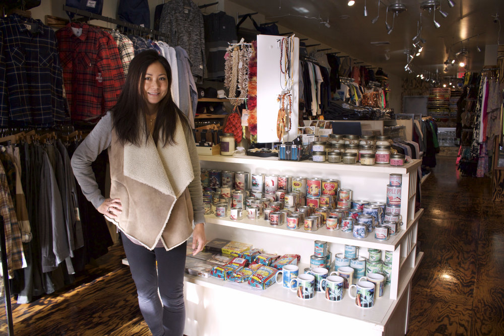 Marie Fischer, owner of Nalu Dry Goods, has brought the Hawaiian style to Main Street in Huntington village.
