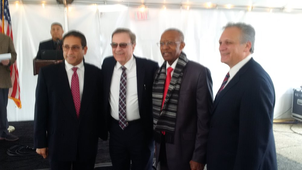 Pictured above, from left, are: Hempstead Village Deputy Mayor Luis Figueroa; Renaissance Downtowns CEO Don Monti; Hempstead Village Mayor Wayne Hall; and Nassau County Executive Ed Mangano.