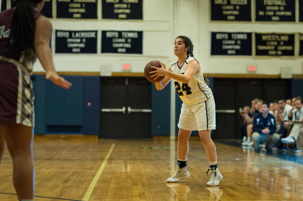 Huntington Blue Devil Emma Petrizzi scored a career-high 17 points against Centereach last Tuesday. (Photo by Darin Reed).