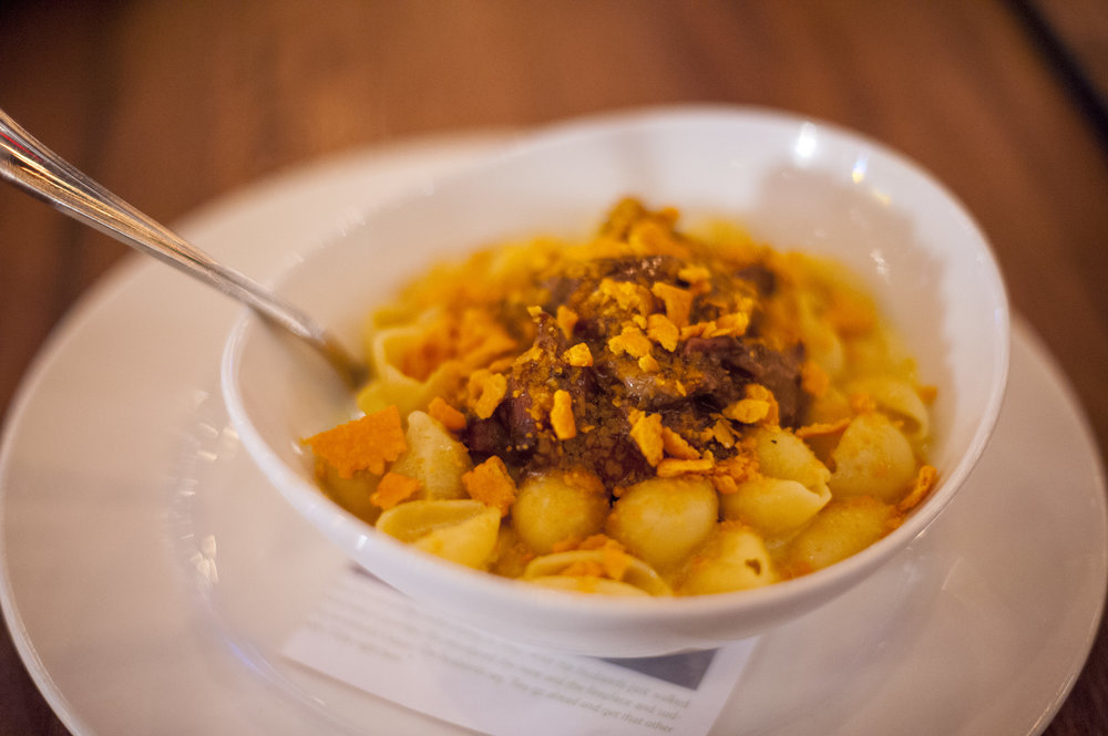 The Short Rib Mac & Cheezit is Crabtrees' unique twist on the classic dish. It centers around tangy white cheddar from the Vermont-based Cabot Creamery, paired with succulent short rib and a topping of Cheez-it crumbles.