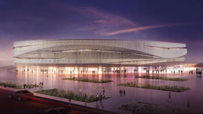 Cancer treatment center Memorial Sloan Kettering recently agreed to buy 5 acres of land on the soon-to-be-open property of the renovated Nassau Coliseum, portrayed above in a rendering.