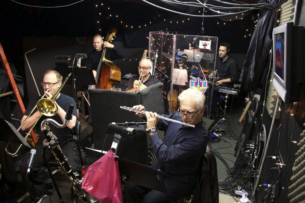 The John Engeman Theater's live, six-member orchestra stays hidden underneath the stage in what is known as the pit. Pictured above is Russell Brown, back left; Josh Endlich, back right; Joe Boardman, center; Frank Hall, front left; and Bob Dalpiaz, front right.