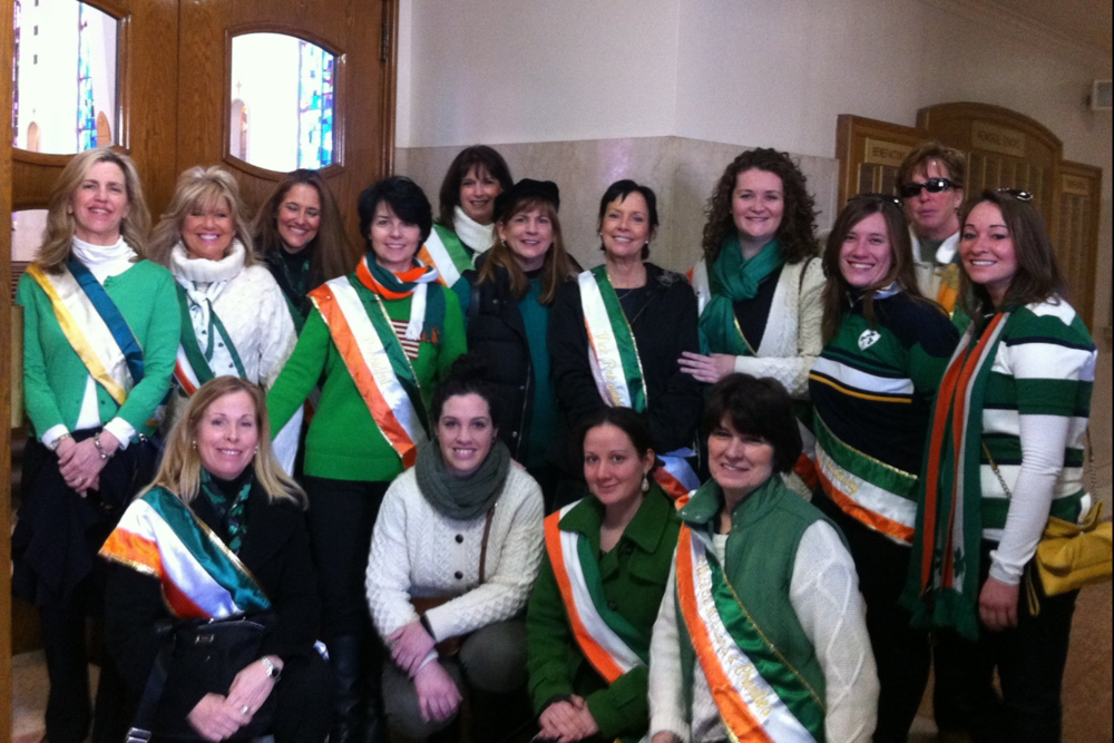 Elizabeth Black leads the Ancient Order of Hibernians Ladies Division in a recent St. Patrick's parade in Huntington.