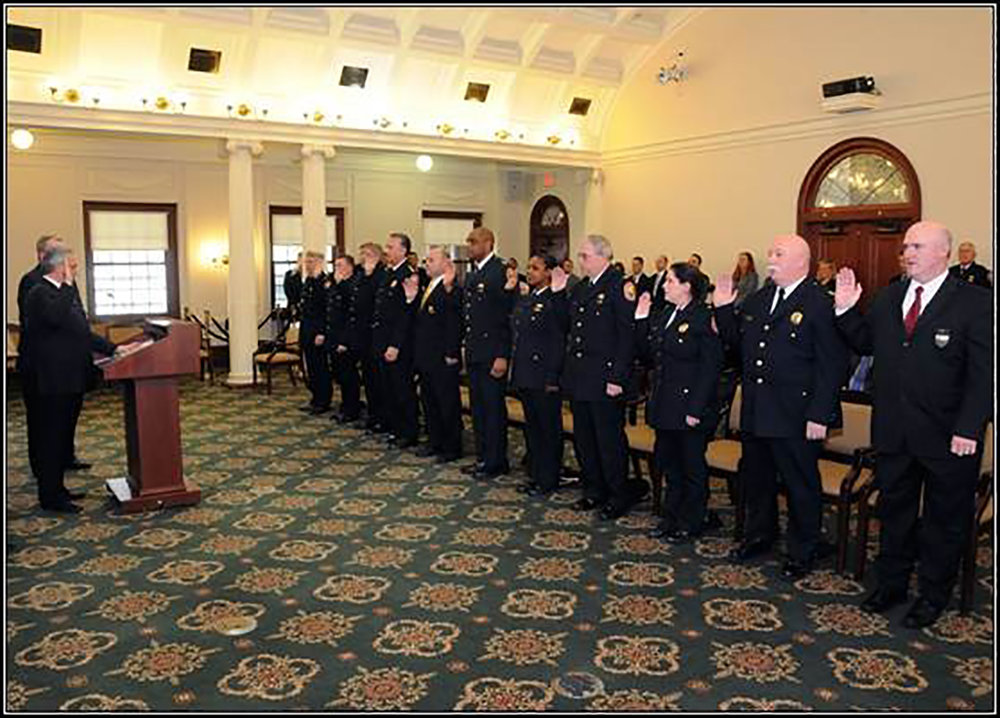 Pictured, from left: are Nassau Executive Edward Mangano; Acting Nassau Police Commissioner Thomas Krumpter; Deputy Chief John Berry; Assistant Chief Kenneth Lack; Assistant Chief Kevin Canavan; Acting Chief of Department Kevin Smith; Deputy Commissioner of Police Patrick Ryder; Assistant Chief Stephen Palmer; Deputy Chief Keechant Sewell; Inspector Robert Torres; Captain Tara Comiskey; Captain William Leahy; and Detective Lieutenant James Watson.