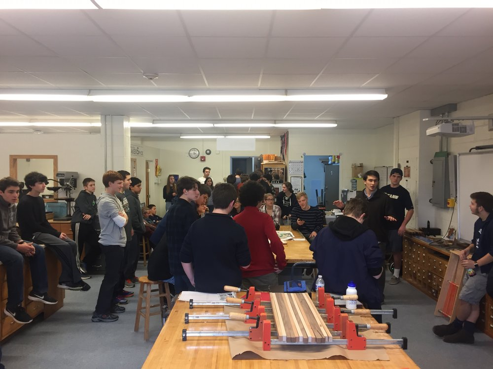The Huntington Robotics team, which is in its fourth year, gathers for a meeting to talk strategy for the recently initiated FIRST competition that will test their skills in programming, design and creativity. (Photo courtesy of Bryan Reynolds).