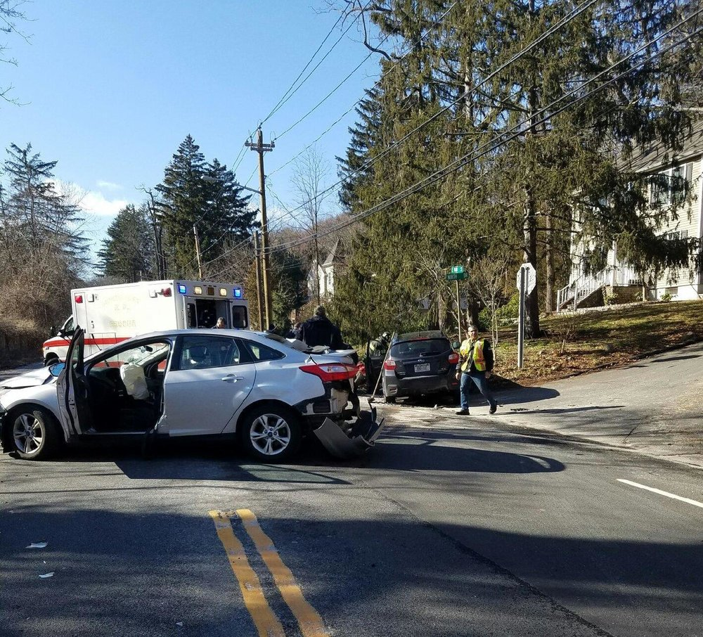 The aftermath Wednesday afternoon of a three-car crash in Centerport that injured three people, according to fire officials.