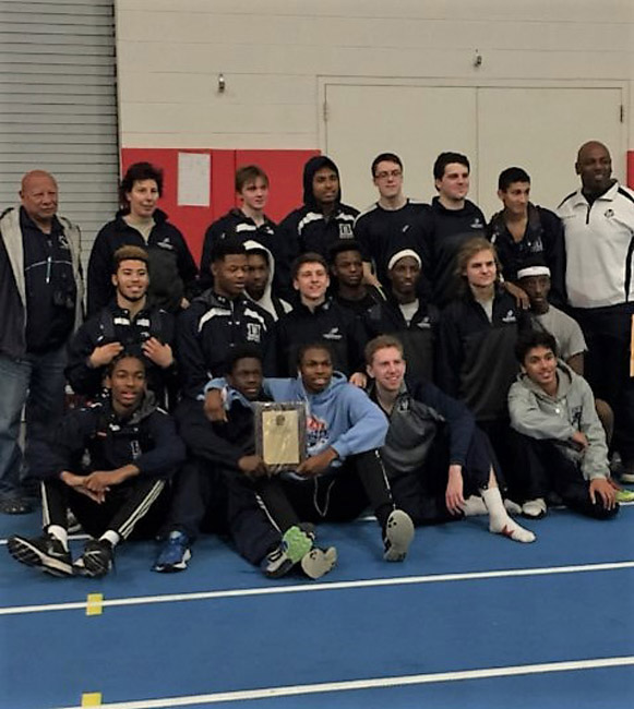 The Huntington Blue Devils indoor track and field team brought home three gold medals and the team win at the League III championships on Sunday.