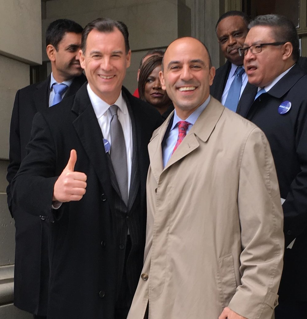 Rep. Thomas Suozzi is pictured at the inauguration with fellow Rep. James Panetta, of California.