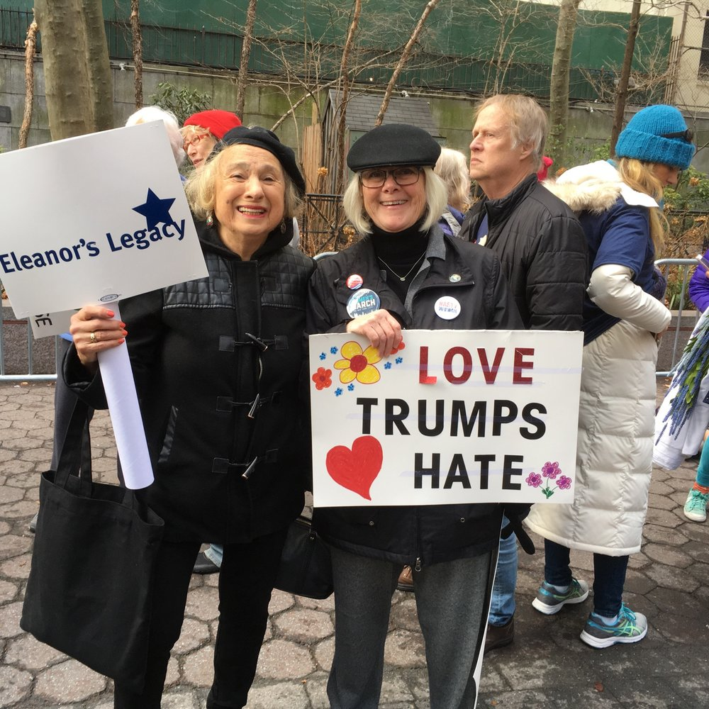 From left, Huntington residents Rita Brettschneider and Alicia Lawrence, attend the New York City Women's March on Sunday to protest the Trump administration.