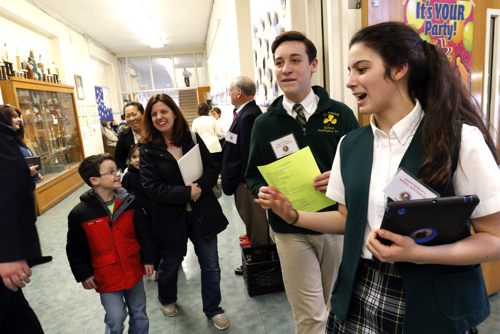 Students at St. Patrick's School in Huntington show off their school at last year's open house.
